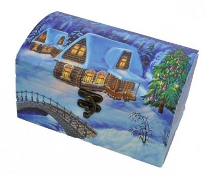 Новогодний подарок с конфетами Сундук Снежная зима