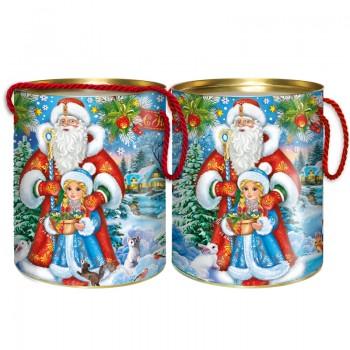 Новогодний подарок со сладостями Дед Мороз и внучка