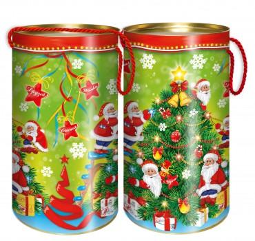 Подарок со сладостями в тубе Елка новый год