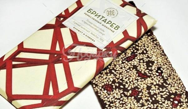 Ремесленный шоколад 70% какао с кунжутом и клюквой