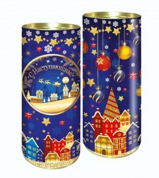 Подарок на новый год с конфетами Город