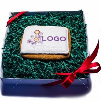 Пряник с лого в подарочной коробке