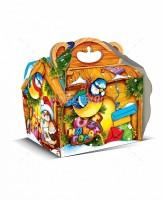 Новогодний подарок со сладостями в картонной упаковке Кормушка Птички-синички