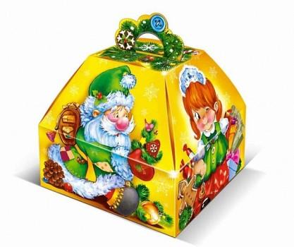 Сладкий новогодний подарок в картонной упаковке Новогодний Кубик  1000гр