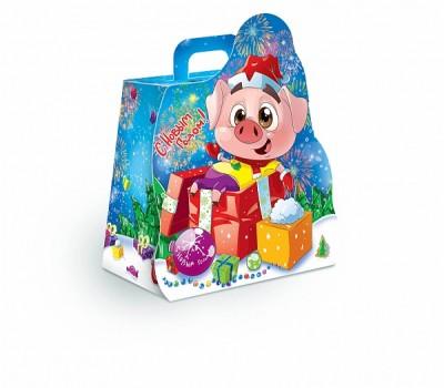 Сладкий новогодний подарок в красивой упаковке Свин 650гр