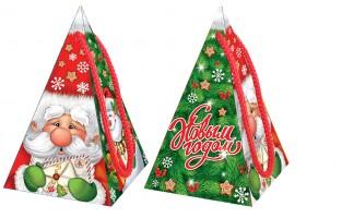 Сладкий новогодний подарок в картонной коробке Пирамидка Дедуня
