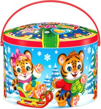 Подарок со сладостями на новый год Саночки