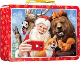Новогодний подарок со сладостями Чемоданчик Улыбнитесь