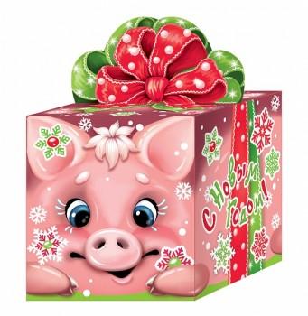Сладкий новогодний подарок в картонной упаковке Хрюшан