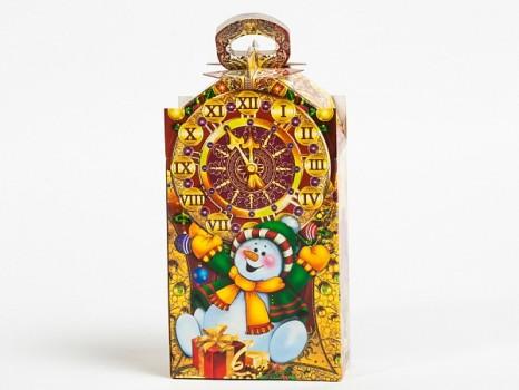 Новогодний подарок со сладостями в картонной упаковке Сладкие минутки красные