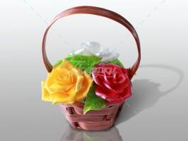 Корзина 3 розы