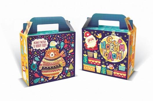 Сладкий новогодний подарок в картонной упаковке Мишка на севере