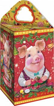 Сладкий подарок на Новый год в картонной упаковке Поросятушки 350гр