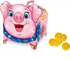 Новогодний подарок со сладостями в картонной упаковке Свинка Копилка 850гр