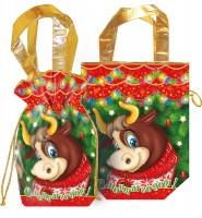 Сладкий новогодний подарок Мешочек сумка подарков красный
