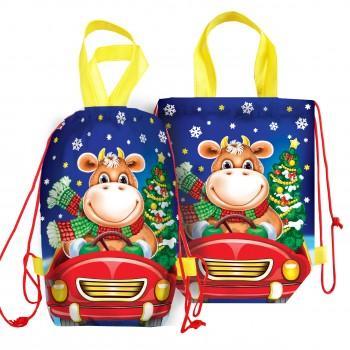 Сладкий новогодний подарок Мешочек рюкзак подарков синий