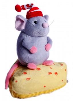 Новогодний подарок мягкая игрушка  мышонок Пармезанчик