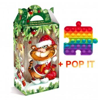 Сладкий подарок к Новому году Полосатый хитрец с POP IT